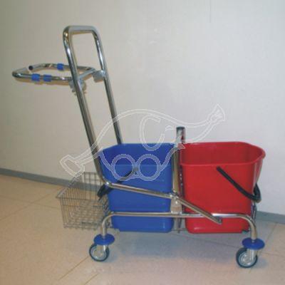 Hromēti ratiņi 30L ar grozu/atkritumu turētāju bez mopu nospiedēja