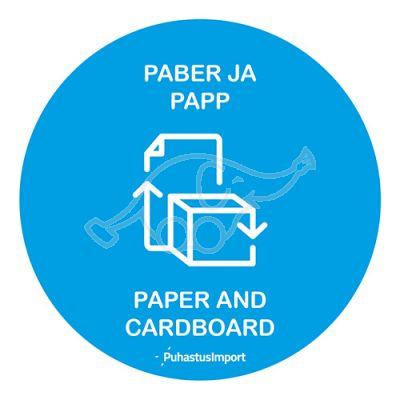 Waste sorting label, PABER JA PAPP, blue