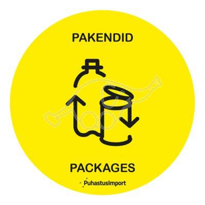Waste sorting label, PAKENDID, kollane