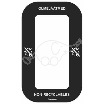 Waste sorting label Bin Multi OLMEJÄÄTMED, black