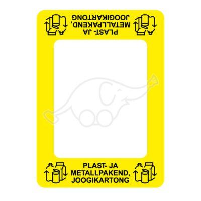 Waste sorting label Bin Commerzi PAKENDID, yellow