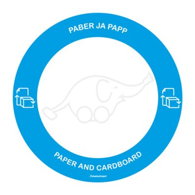 Waste sorting label PABER/PAPP,blue round