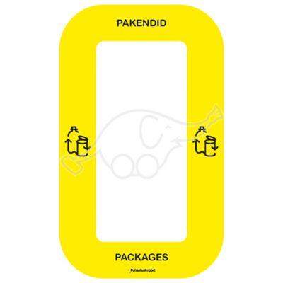 Waste sorting label Bin Multi PAKENDID, yellow