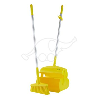 Vikan Dustpan set, closeable with broom, 370 mm, yellow