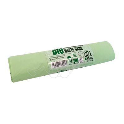 Carbage bag BioBag 60L compostable 57x90cm  5pcs/roll