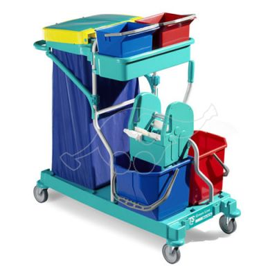 Cleaning trolley Green 165, blue frame