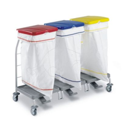 Waste collection rolley Dust 4165 w. pedal&lid 3x70l