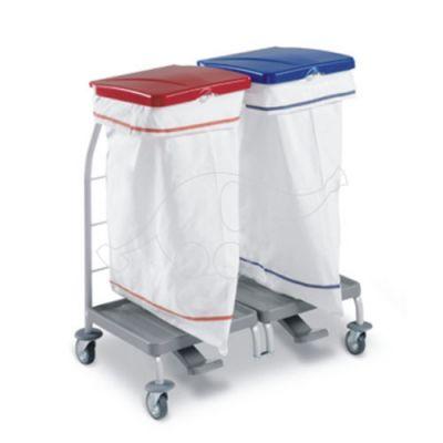 Dubble linen trolley Dust w.lids red/blu