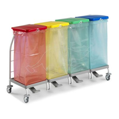 Waste collection trolley Dust 4167 4x70L with pedals & lids