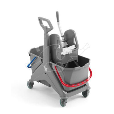 Nickita trolley grey 2x25L T- handle with wringer, grey