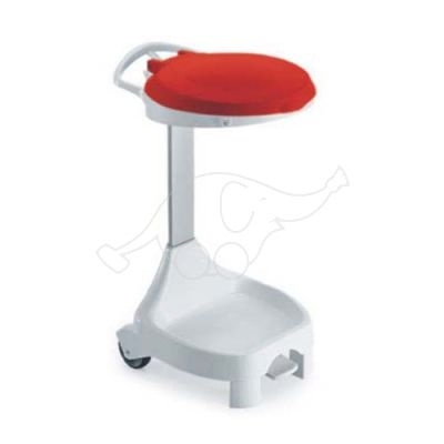 SMILE 120lt white with 2 wheels, red lid, pedal