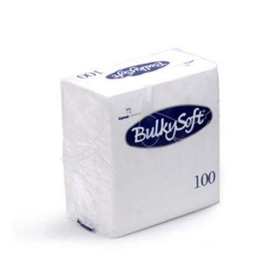 BulkySoft galda salvetes 24x24cm 2 kārtas, baltas 100 gab pakā (30 paciņas/kastē)